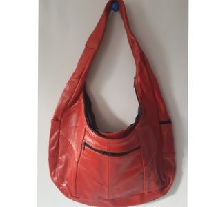 vintage red leather boho style handbag tote